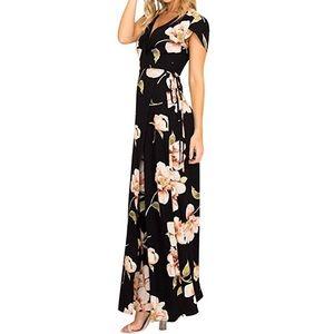 Petal Slv Wrap Split Deep V Neck Floral Maxi Dress